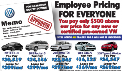 VW Southtowne Employee Pricing On New Volkswagens