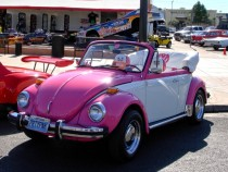 VW Beetle, Volkswagen convertible, pink beetle, white and pink beetle