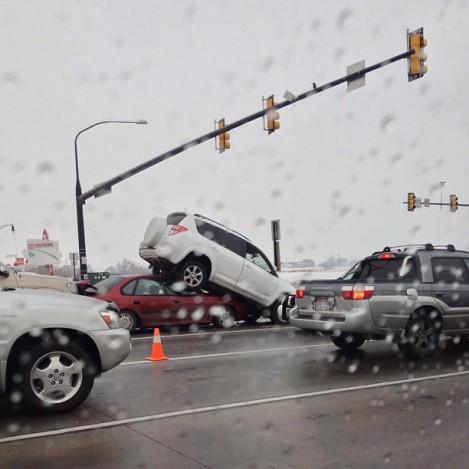 Accident, Utah, Black Ice, 114th South, rav4