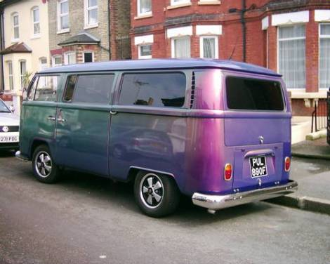 volkswagen bus, iridescent, pearlescent, oil slick, purple vw bus, color changing car
